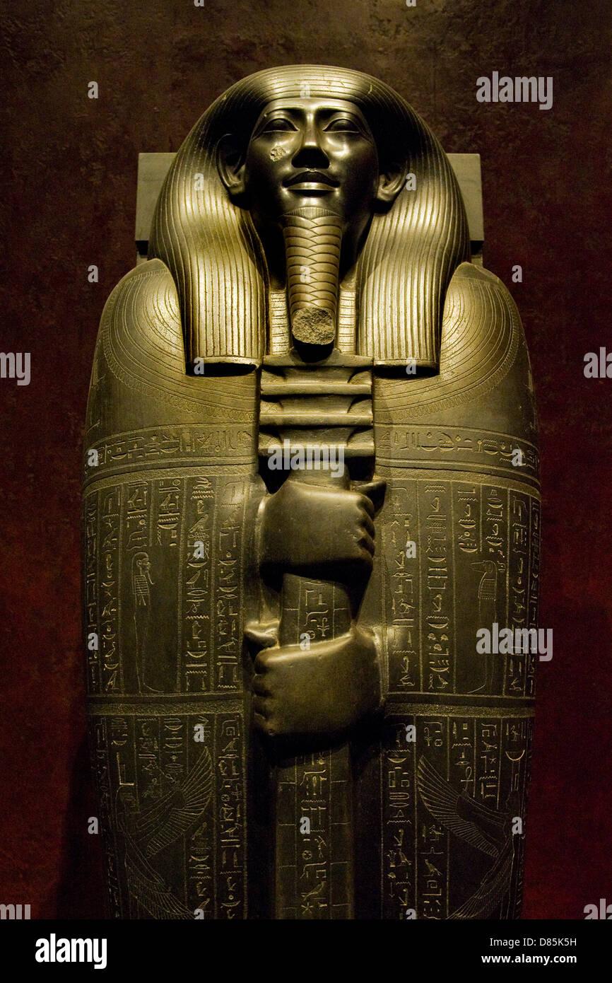 Italy Piedmont Turin Egyptian Museum Statuary room Ibi sarcophagus - Stock Image