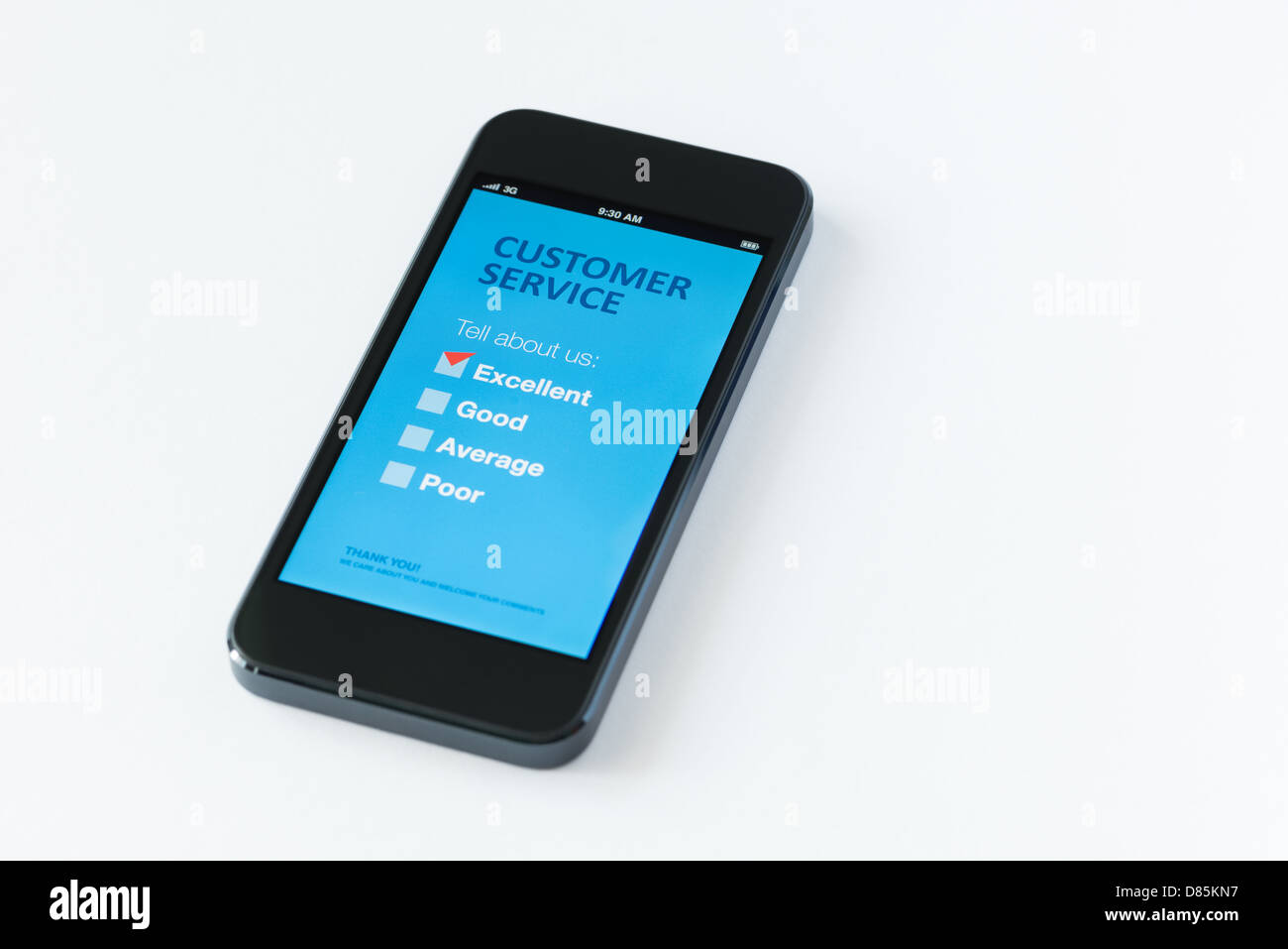 Modern mobile phone with customer service survey form on a screen. Red tick on excellent checkbox showing customer - Stock Image