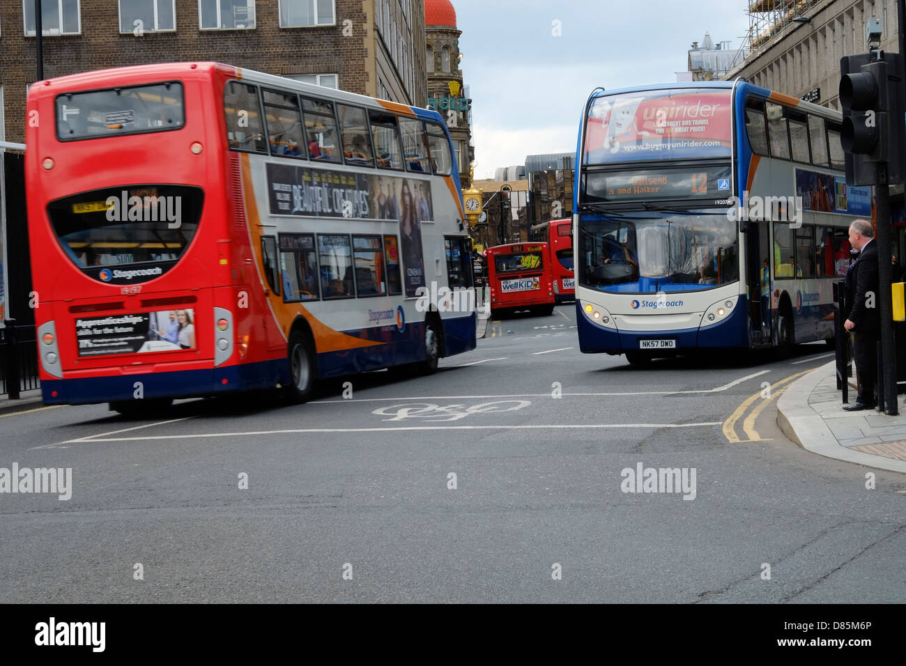 Bus congestion in Newcastle City Centre - Stock Image