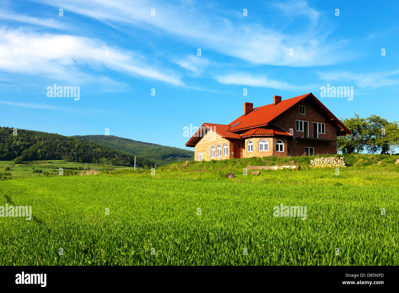 New house in the mountains - Stock Image