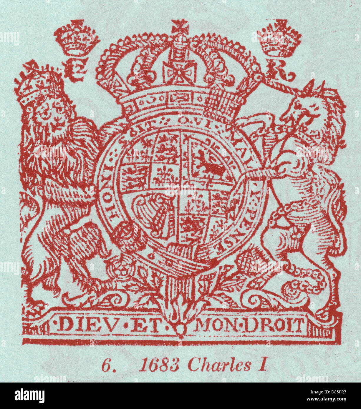 Charles I Coat Of Arms - Stock Image