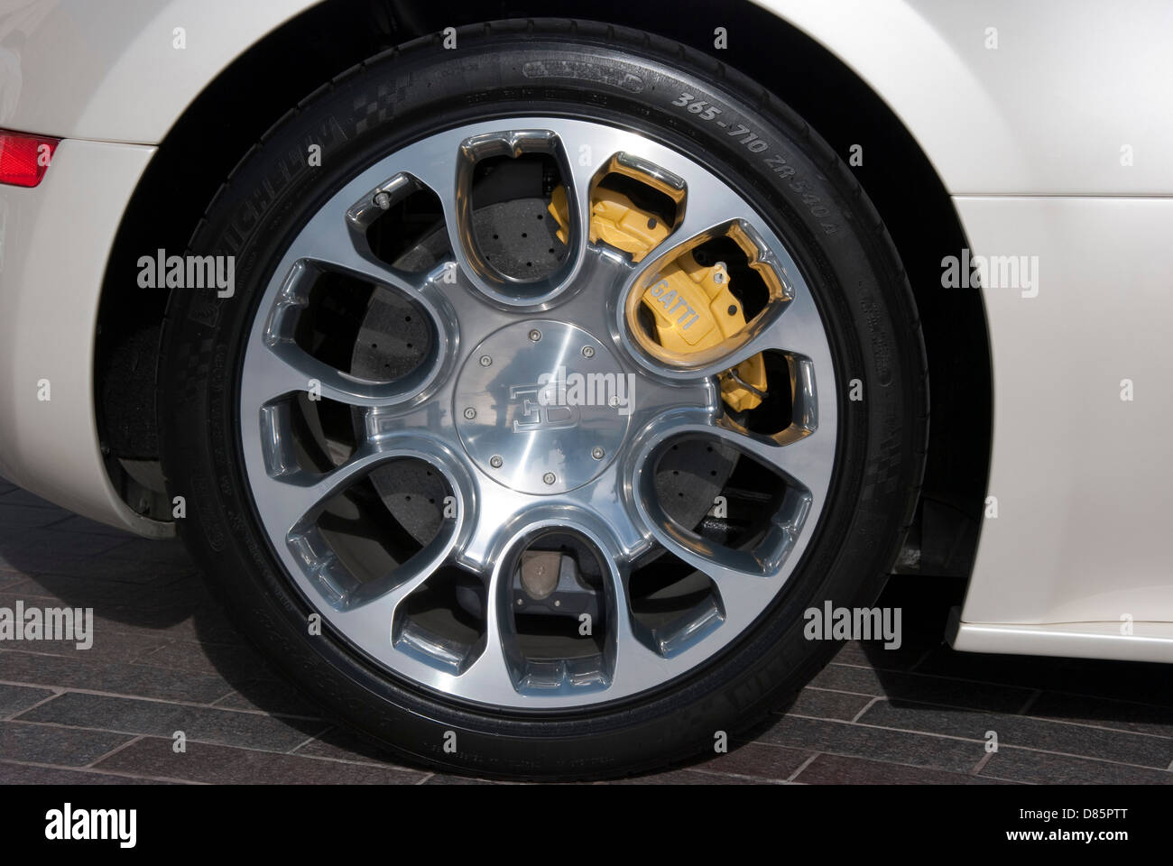 Bugatti Veyron Eb Sports Car Rear Alloy Wheel Tyre Stock Photo