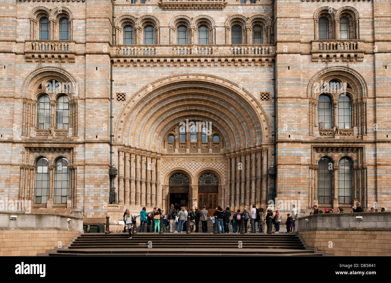 Tourists at Natural History Museum London England - Stock Image