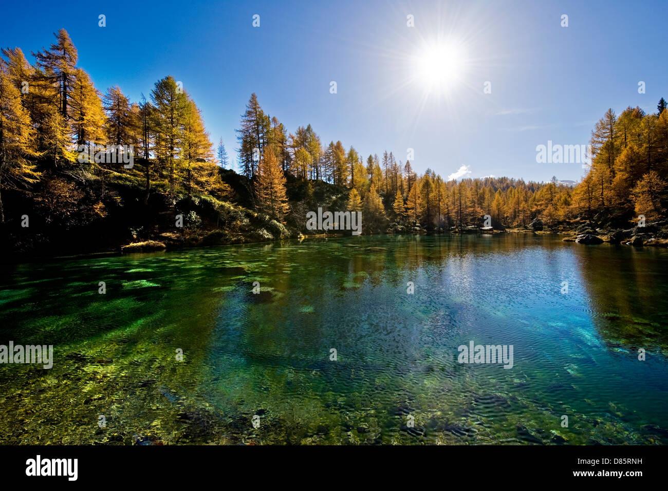Italy Piedmont Devero alp Alpe Devero Lake of Shadows or blue lake - Stock Image