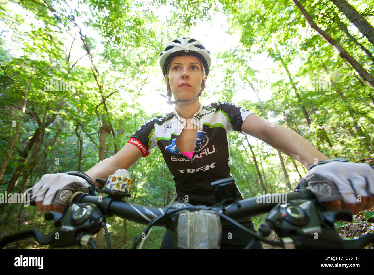 Woman riding a mountain bike on a forest trail system in Bella Vista, Arkansas. - Stock Image