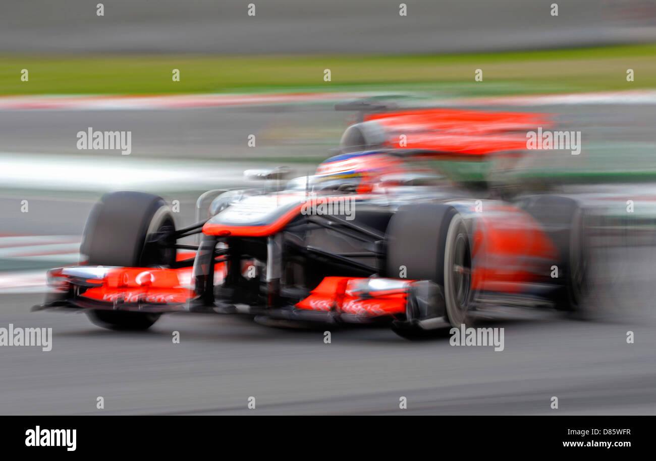 Jenson Button (GBR),McLaren Mercedes  MP4-28 during the Spanish Formula One Grand Prix race 2013 - Stock Image