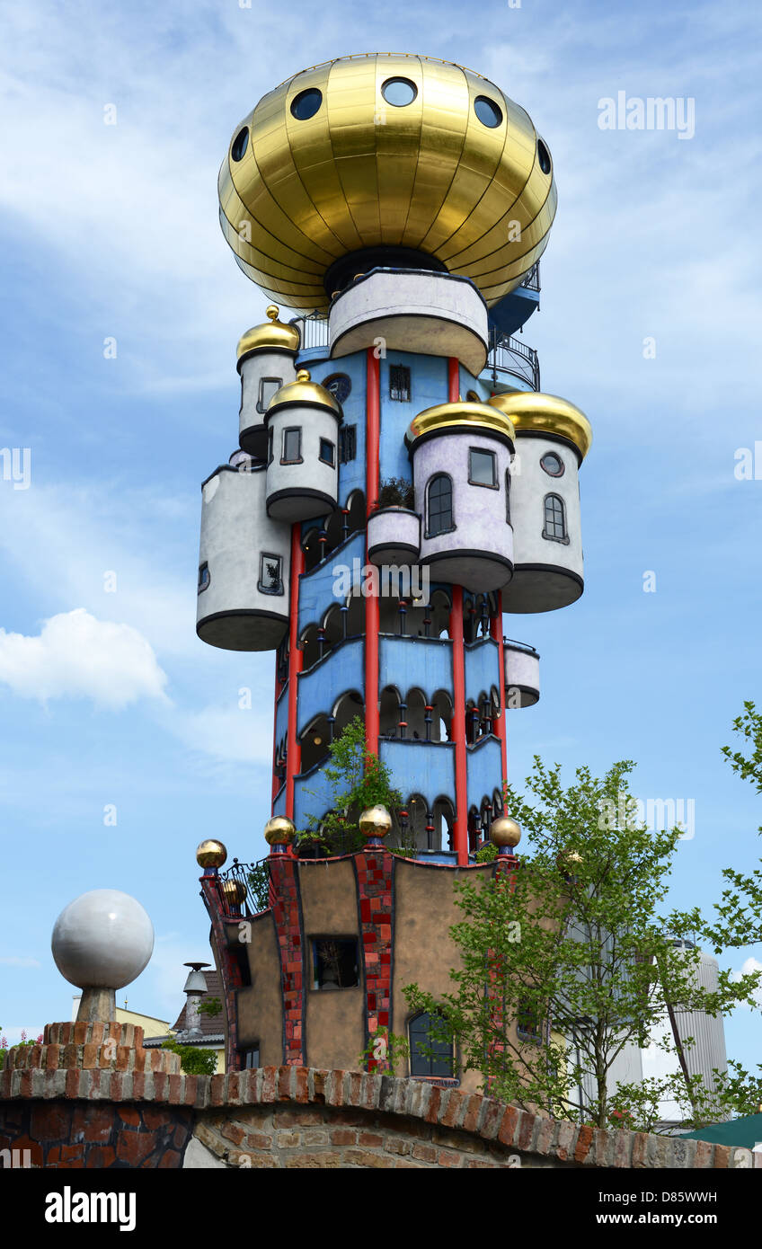 The so called Kuchlbauer Tower by Friedensreich Hundertwasser is situated at the Kuchlbauer Brewery in Abensberg Stock Photo