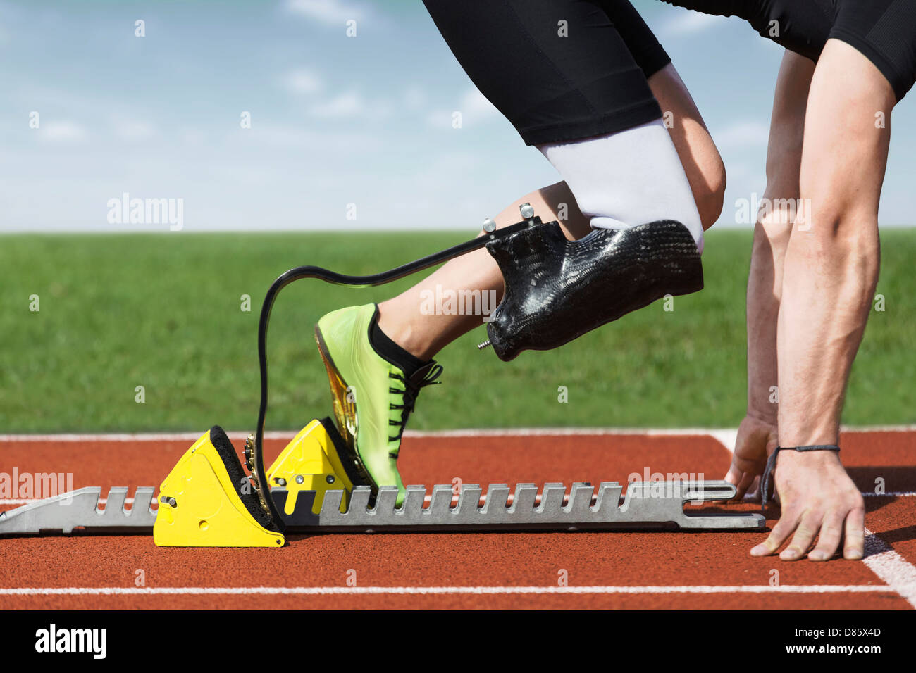 Start position of athlete with handicap - Stock Image