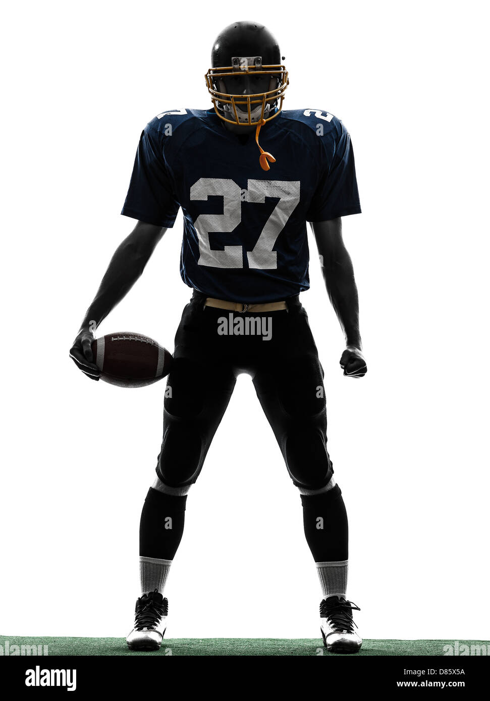 one  quarterback american football player man in silhouette studio isolated on white background - Stock Image