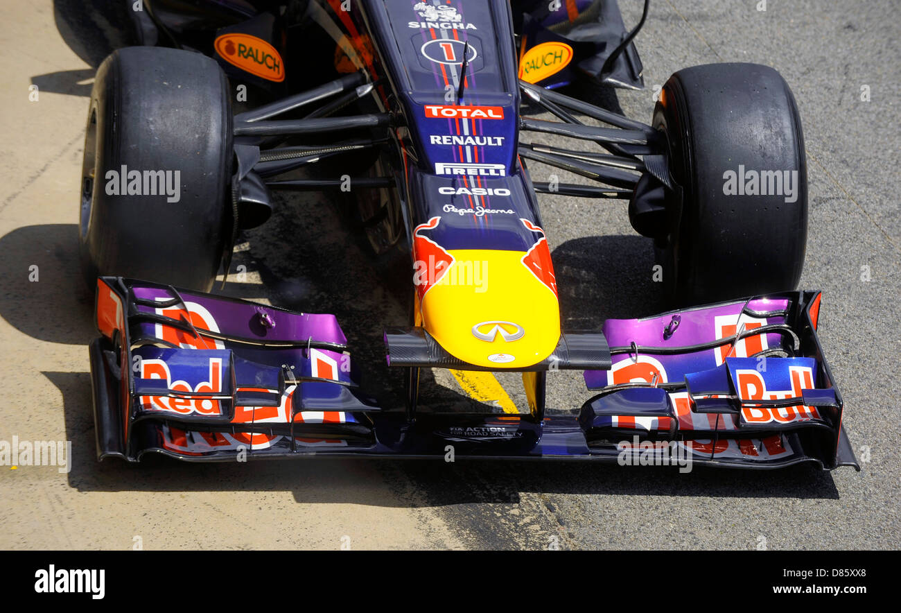 front wing on Red Bull Formula One race car  during the Spanish Formula One Grand Prix 2013 - Stock Image