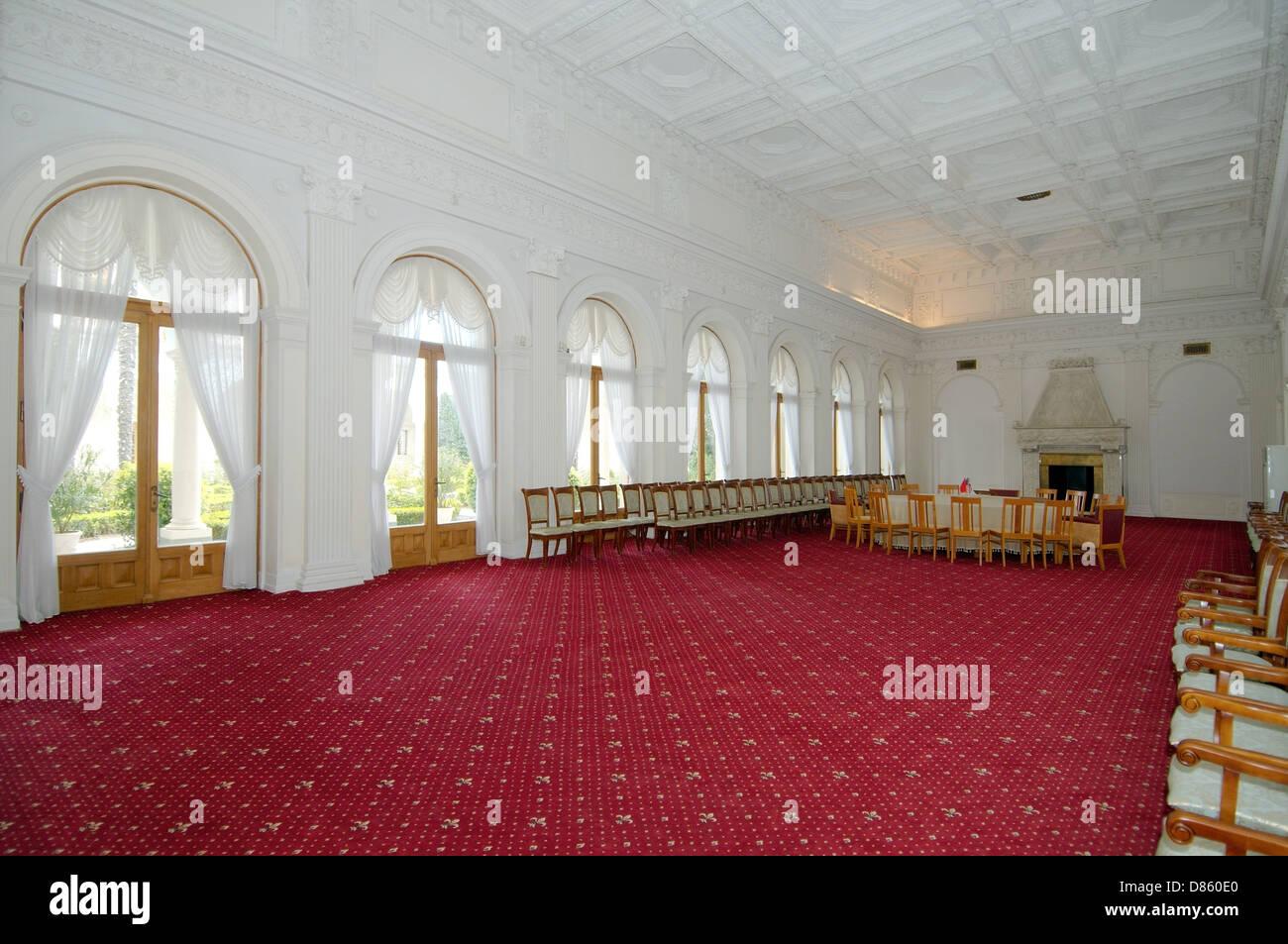 The large conference hall, Grand Livadia Palace, The Greater Yalta, Crimea, Ukraine, Eastern Europe - Stock Image