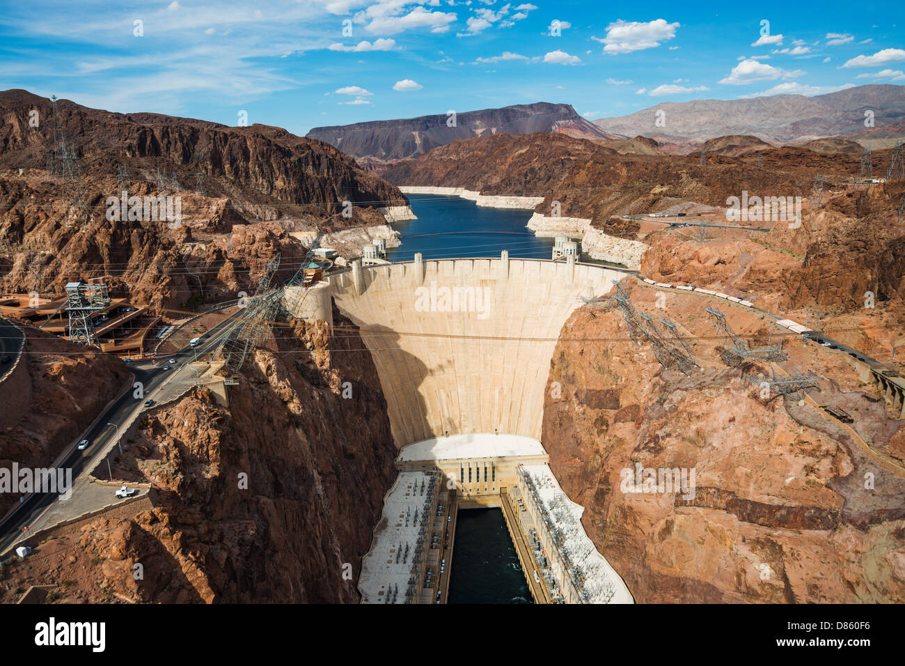 This is an image of the Hoover Dam, taken from the Mike O'Callaghan–Pat Tillman Memorial Bridge Stock Photo