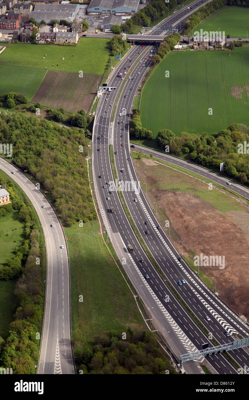 aerial view of the M62 motorway near Leeds - Stock Image