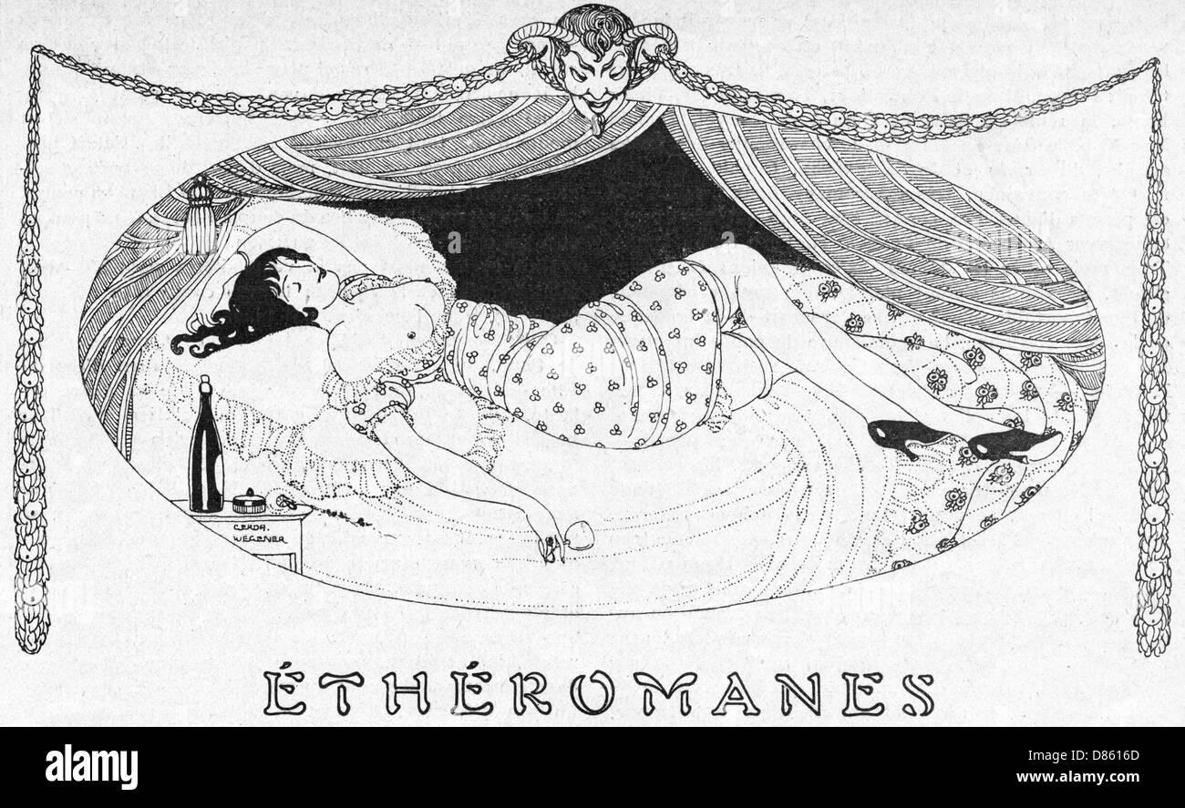 A Comatose Etheromane - Stock Image