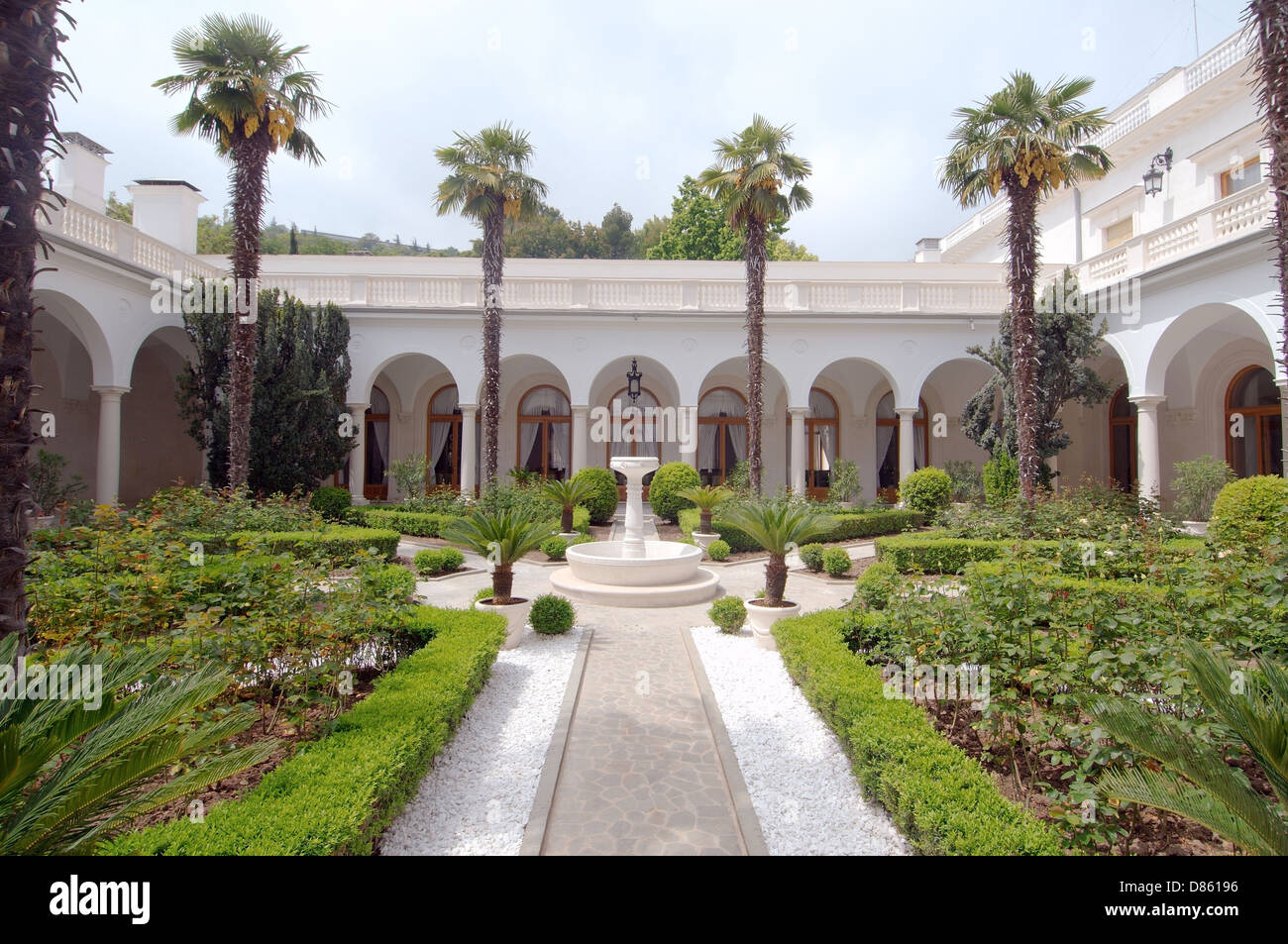 Italian courtyard of the Grand Livadia Palace - summer palace of the last Russian Imperial family - Stock Image