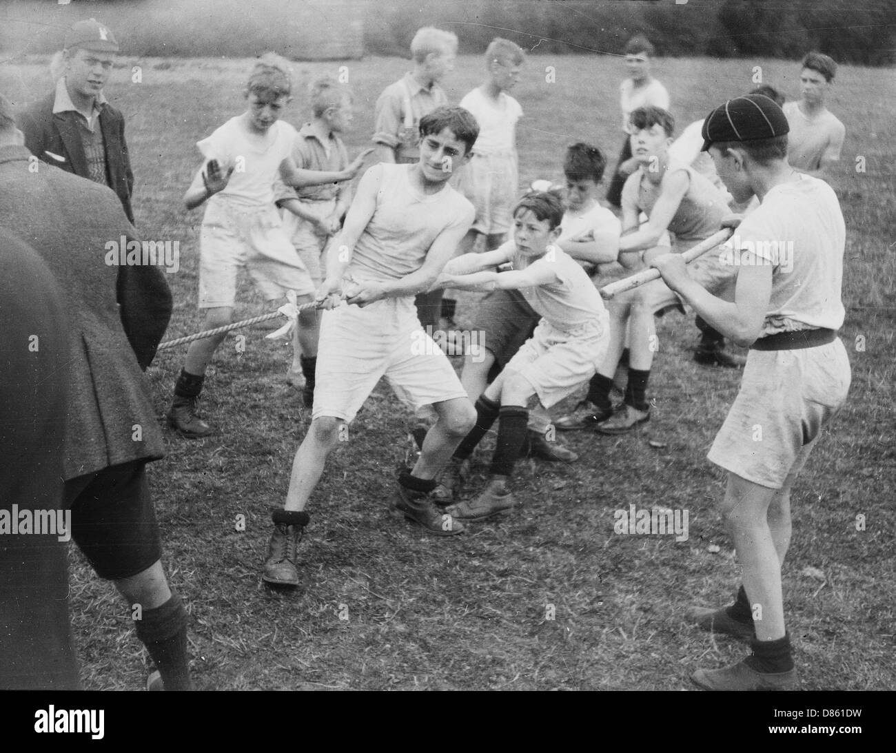 Boys Club Tug Of War Circa 1930 - Stock Image