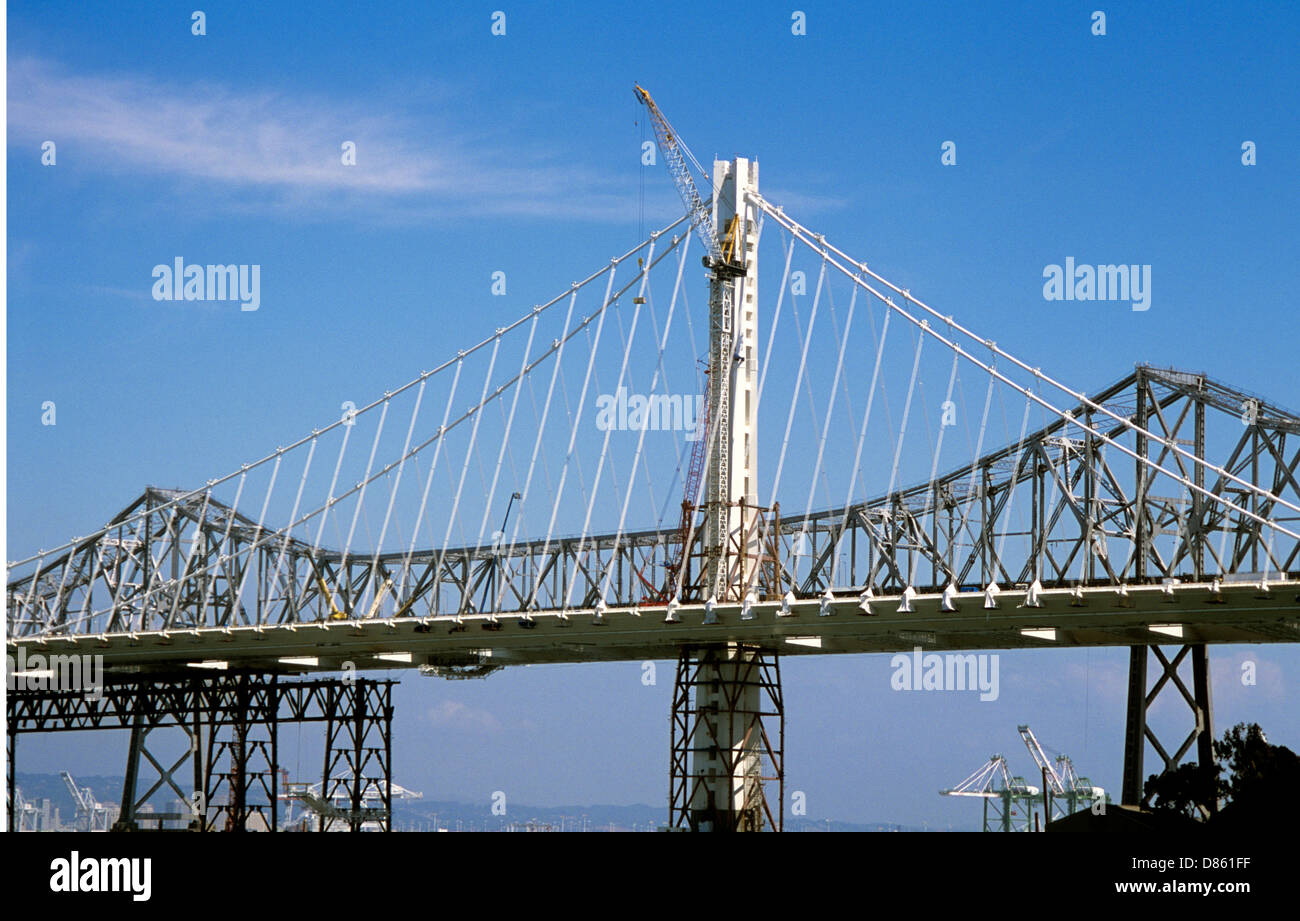 a13049ba9bedd view of the construction of the new single tower self anchored suspension  span of asymmetrical design the Oakland Bay Bridge