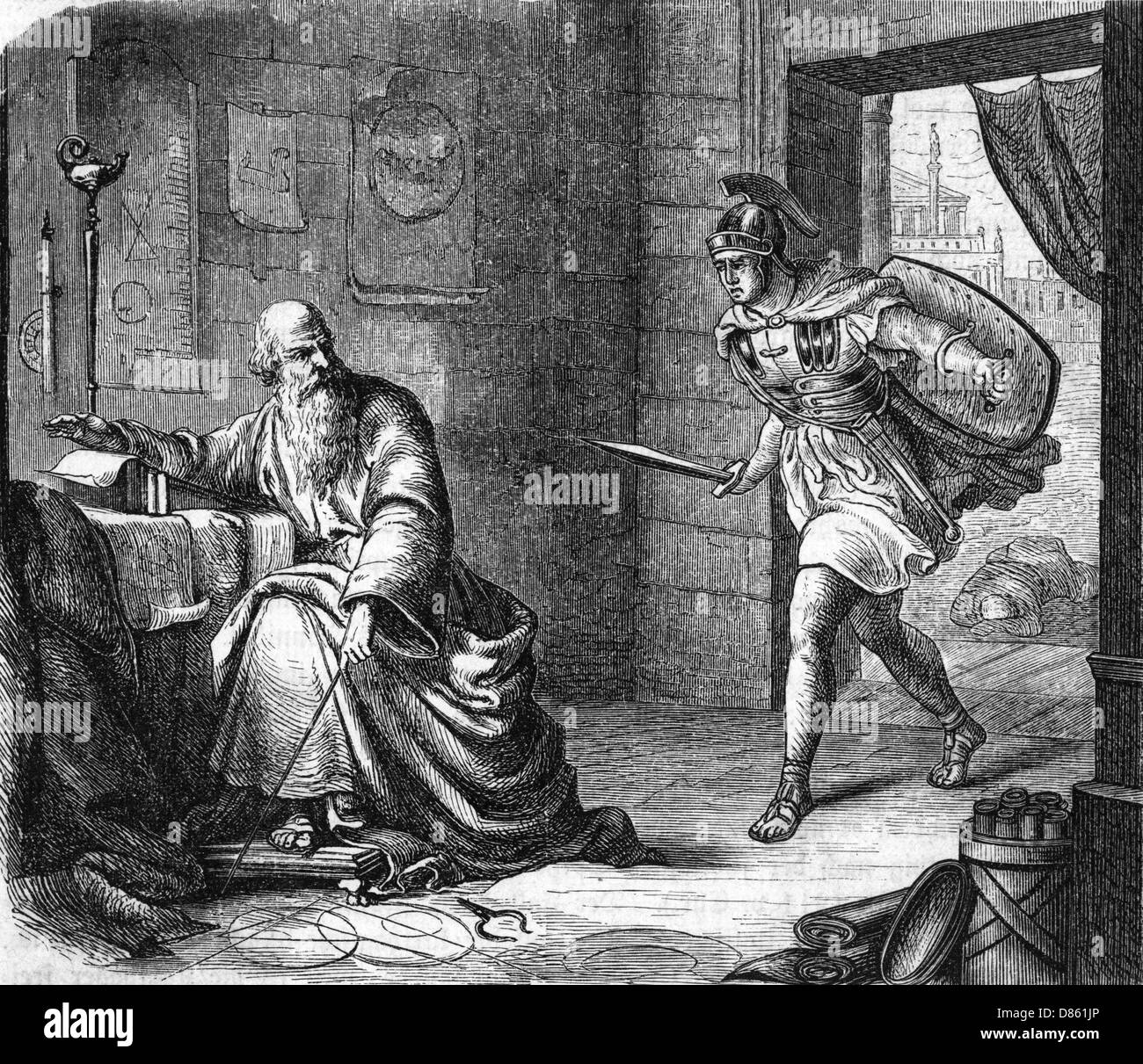 Archimedes About To Be Killed By A Roman Soldier - Stock Image
