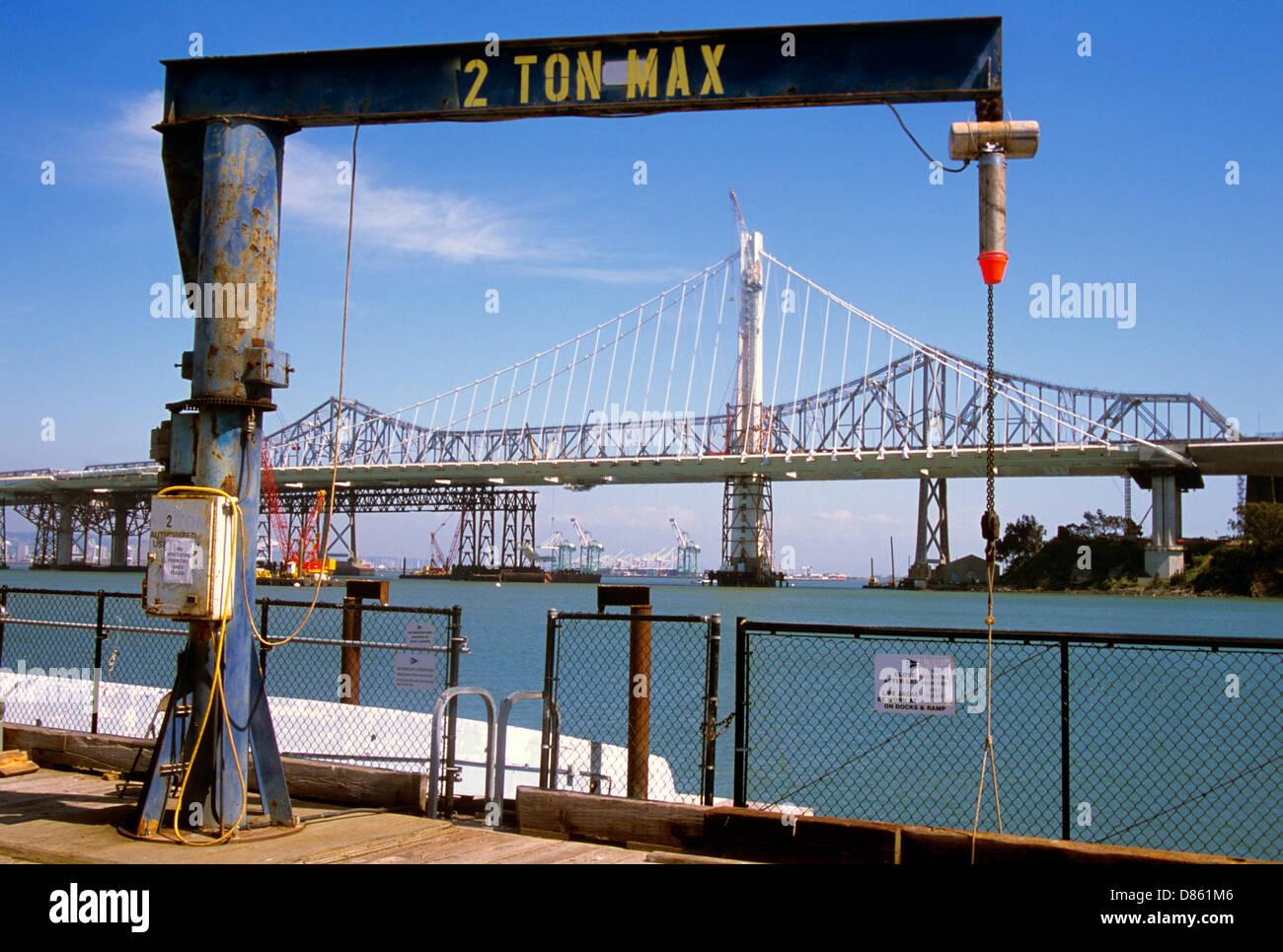 view of new bay bridge construction from treasure island