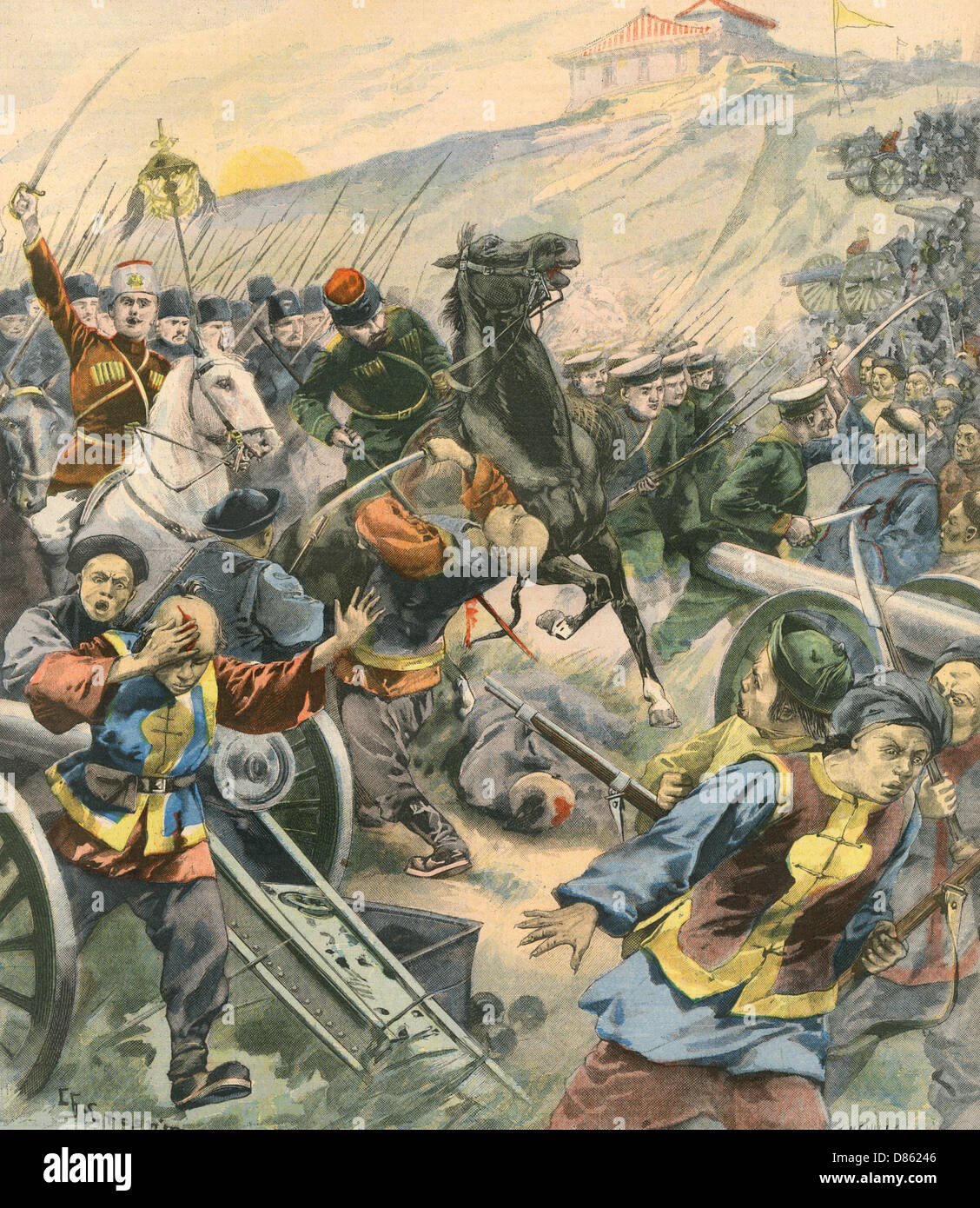 Russian Cavalry In Manchuria During The Boxer Rebellion - Stock Image