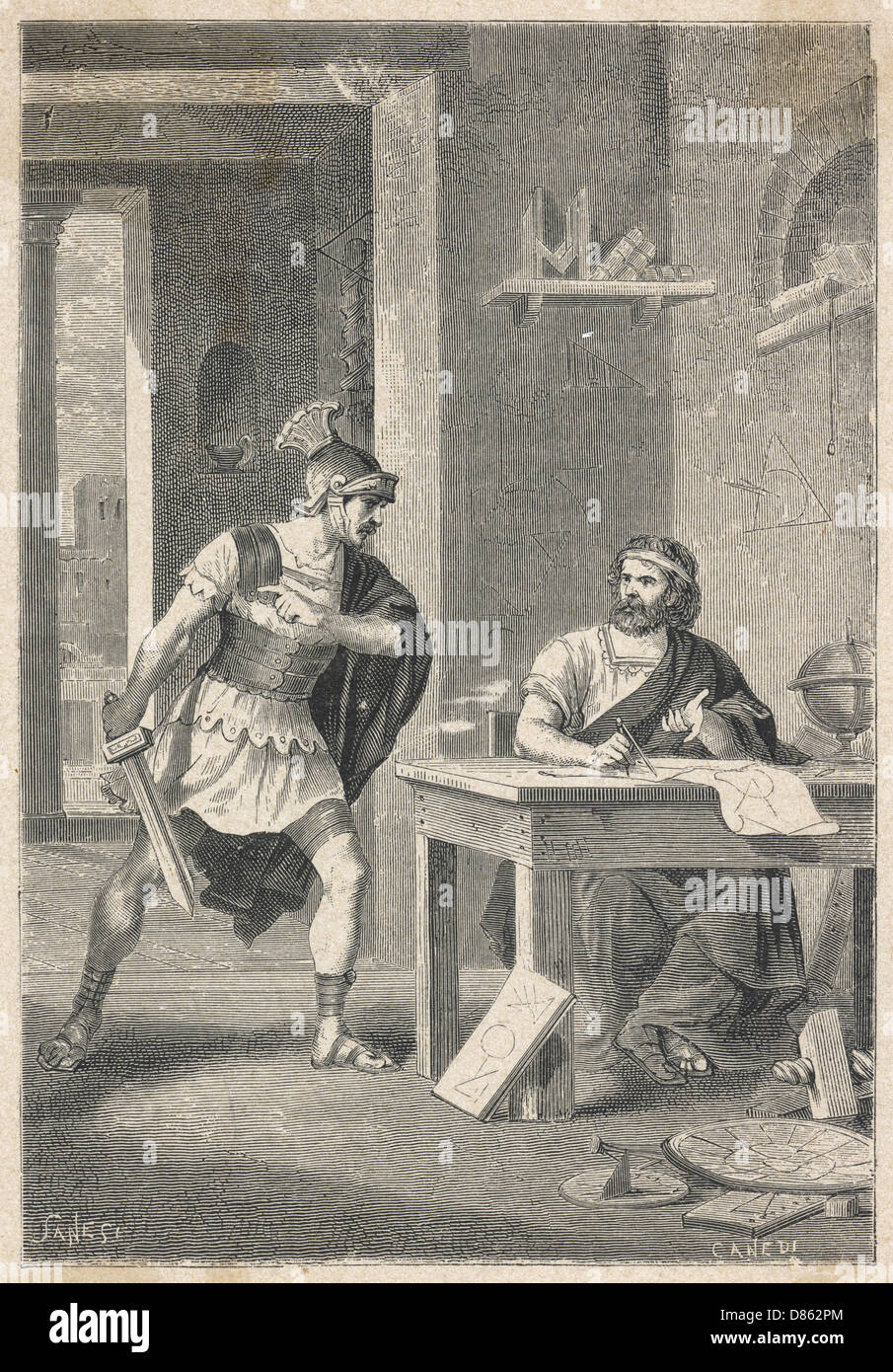 Archimedes Killed By A Roman Soldier - Stock Image