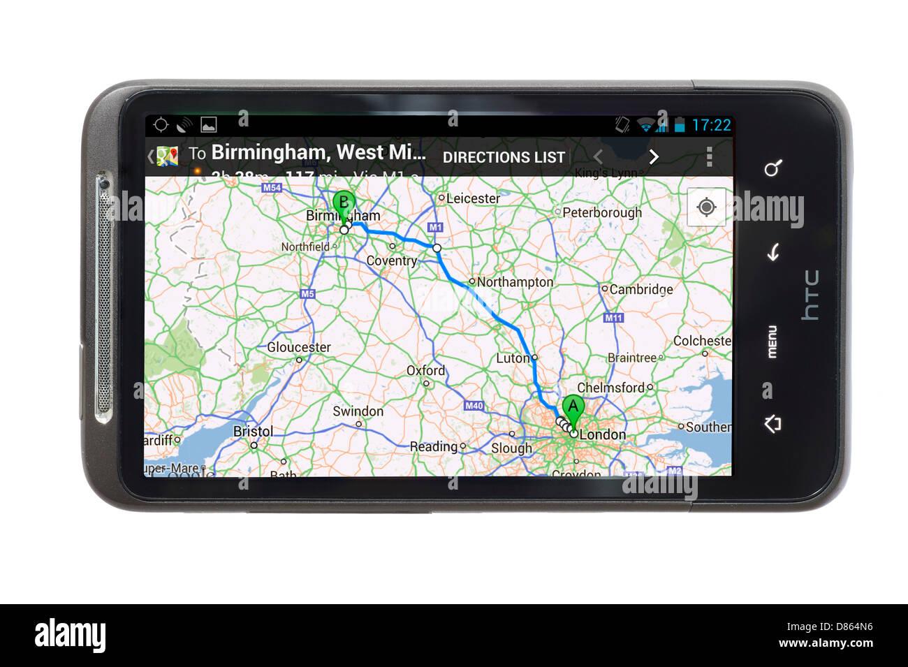 Google Maps on an HTC Smartphone, UK - Stock Image