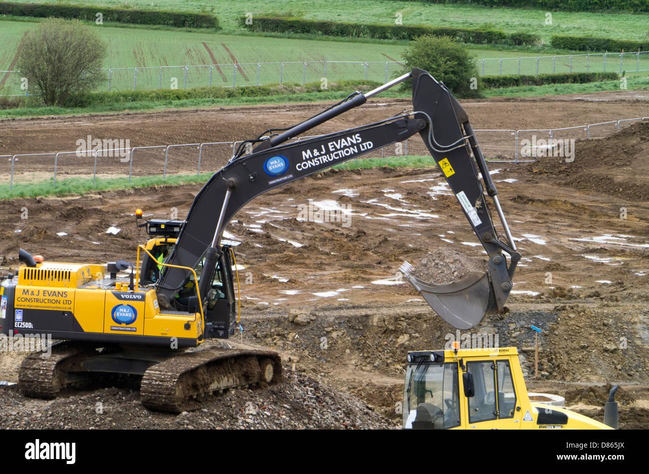 Waterlogged land being prepared for housing development, Grantham, Lincs Stock Photo
