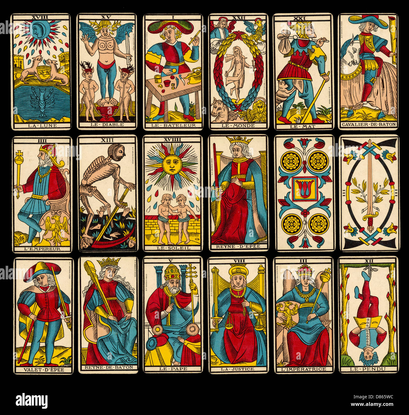 df35153459214a Selection Of Tarot Cards From Traditional Marseille Pack - Stock Image