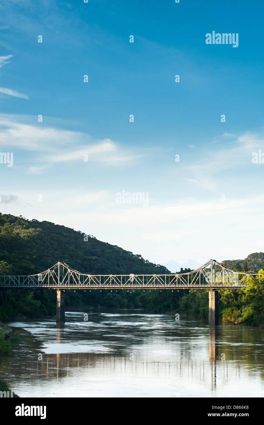 Aldo Pereira de Andrade Bridge over Itajai River. Stock Photo