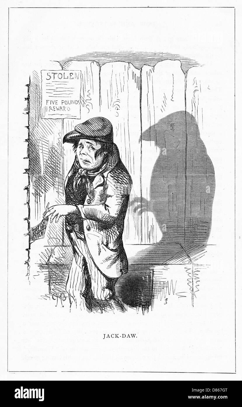 Shadow Drawing. C.h. Bennett  Jack Daw - Stock Image
