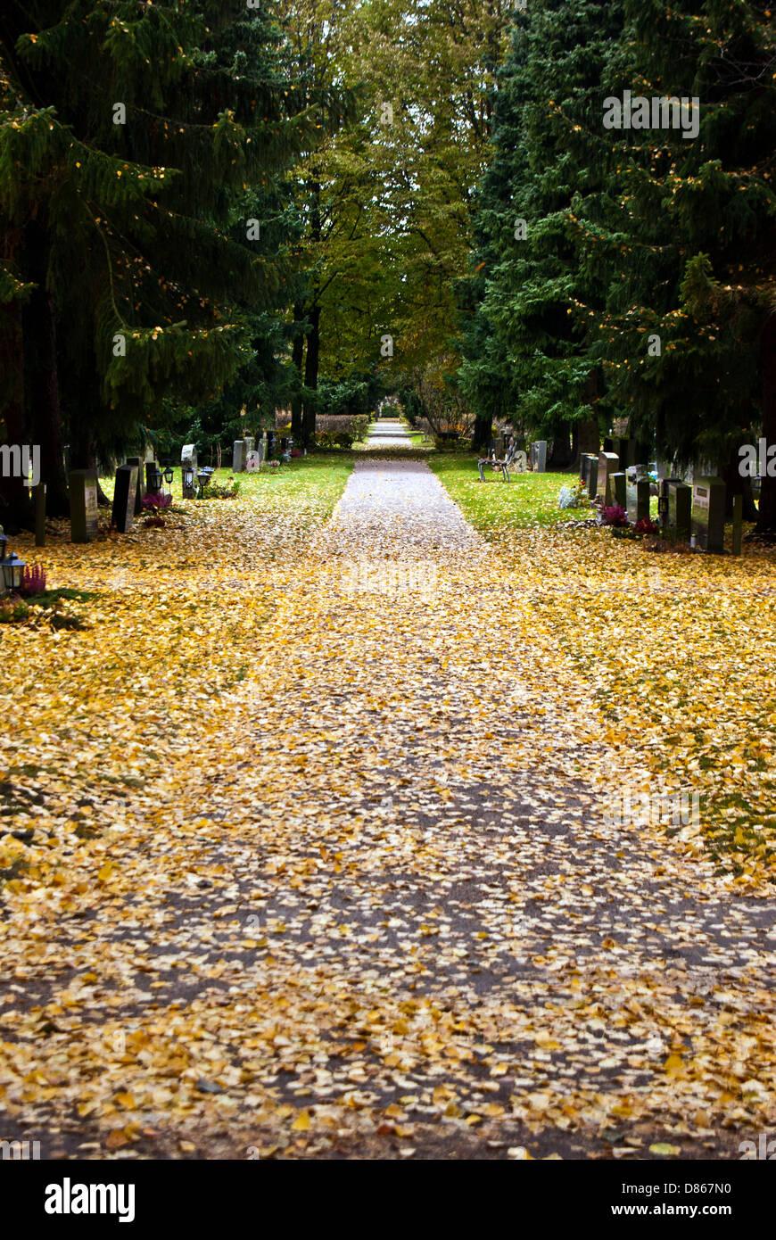 Cemetery corridor at Malmi cemetery in Finland - Stock Image