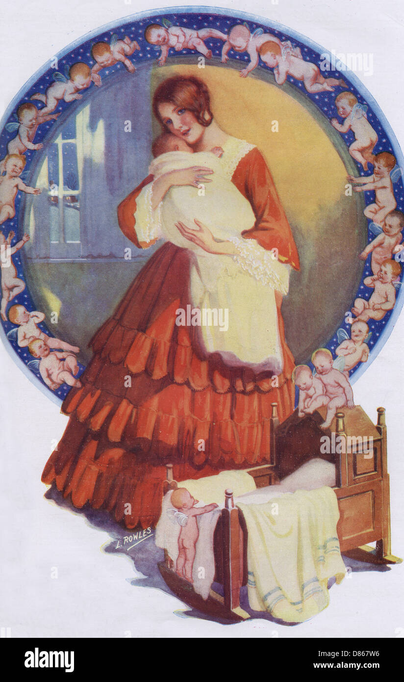 19th Century Mother And Baby - Stock Image