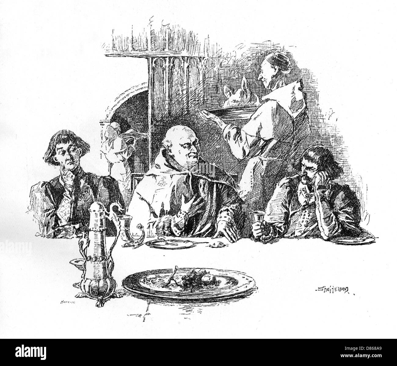 Medieval Bores And Boars After The Feast - Stock Image