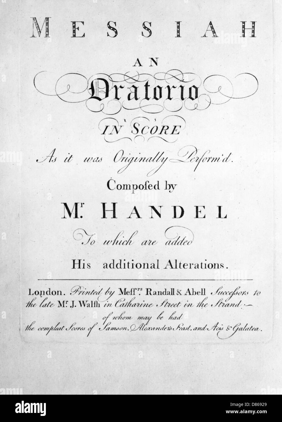 The Score To Handels Messiah - Stock Image