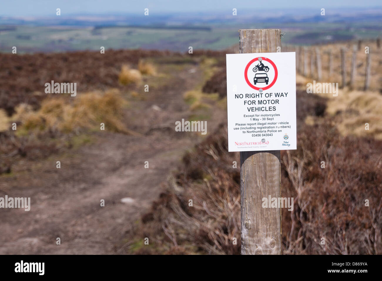 No right of way for motor vehicles sign on Blanchland Moor. - Stock Image