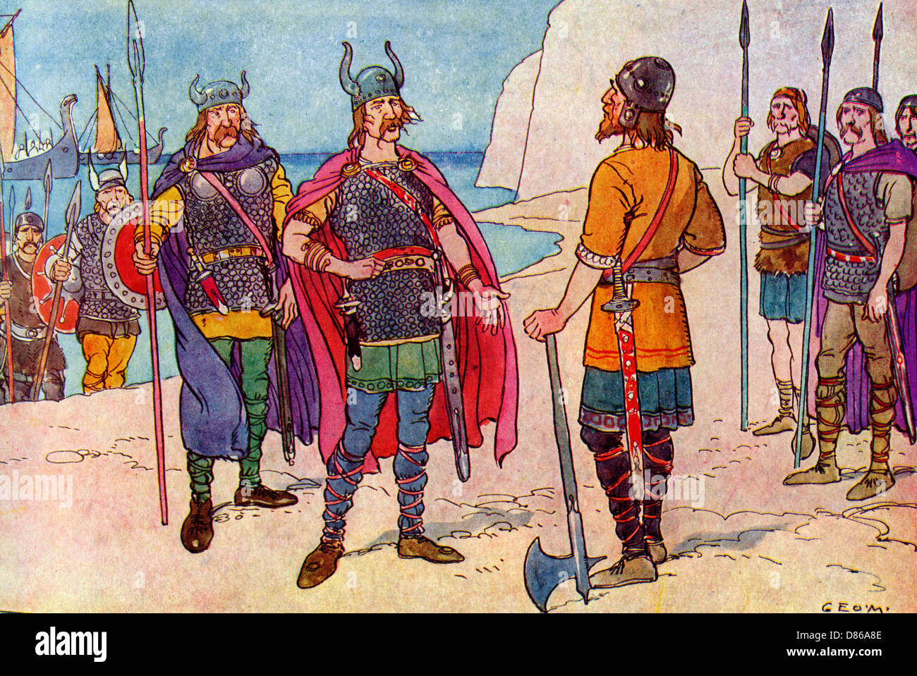 The First Saxons In Britain - Stock Image