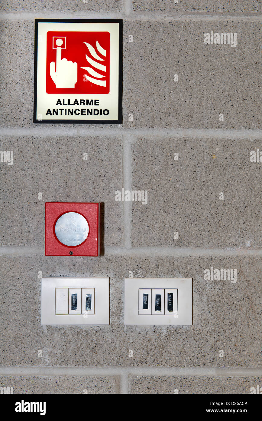fire alarm indication and push button - Stock Image