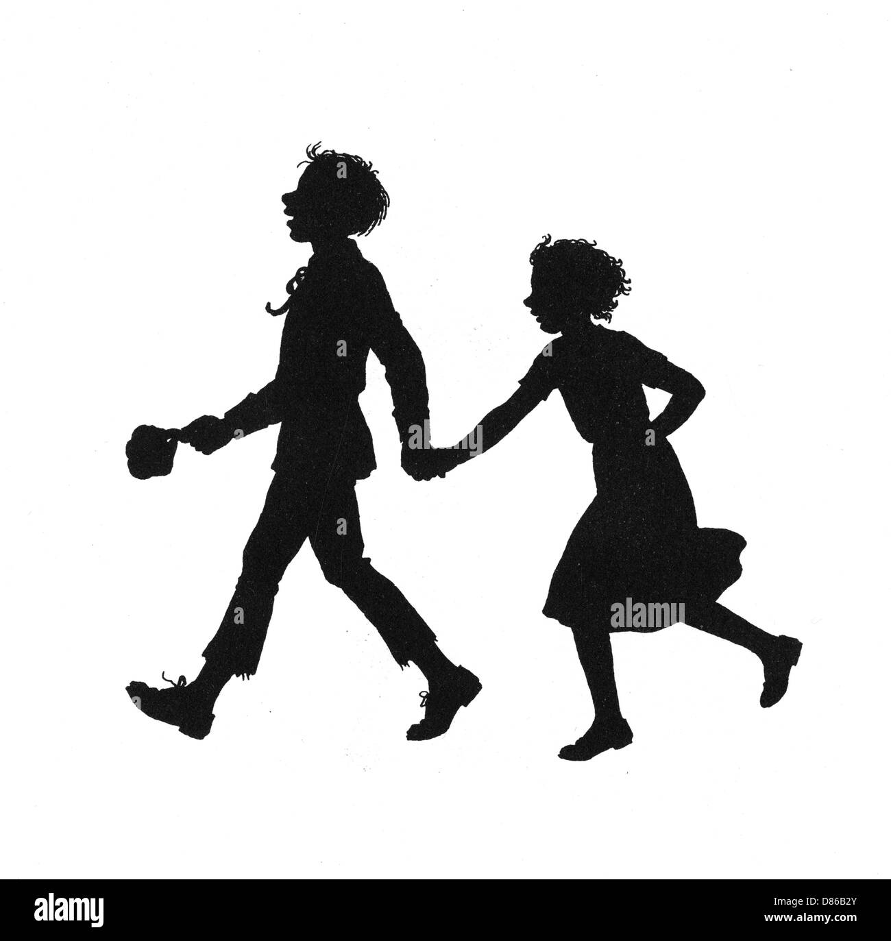 Dunderpate And His Friend Susan Walking To Town - Stock Image