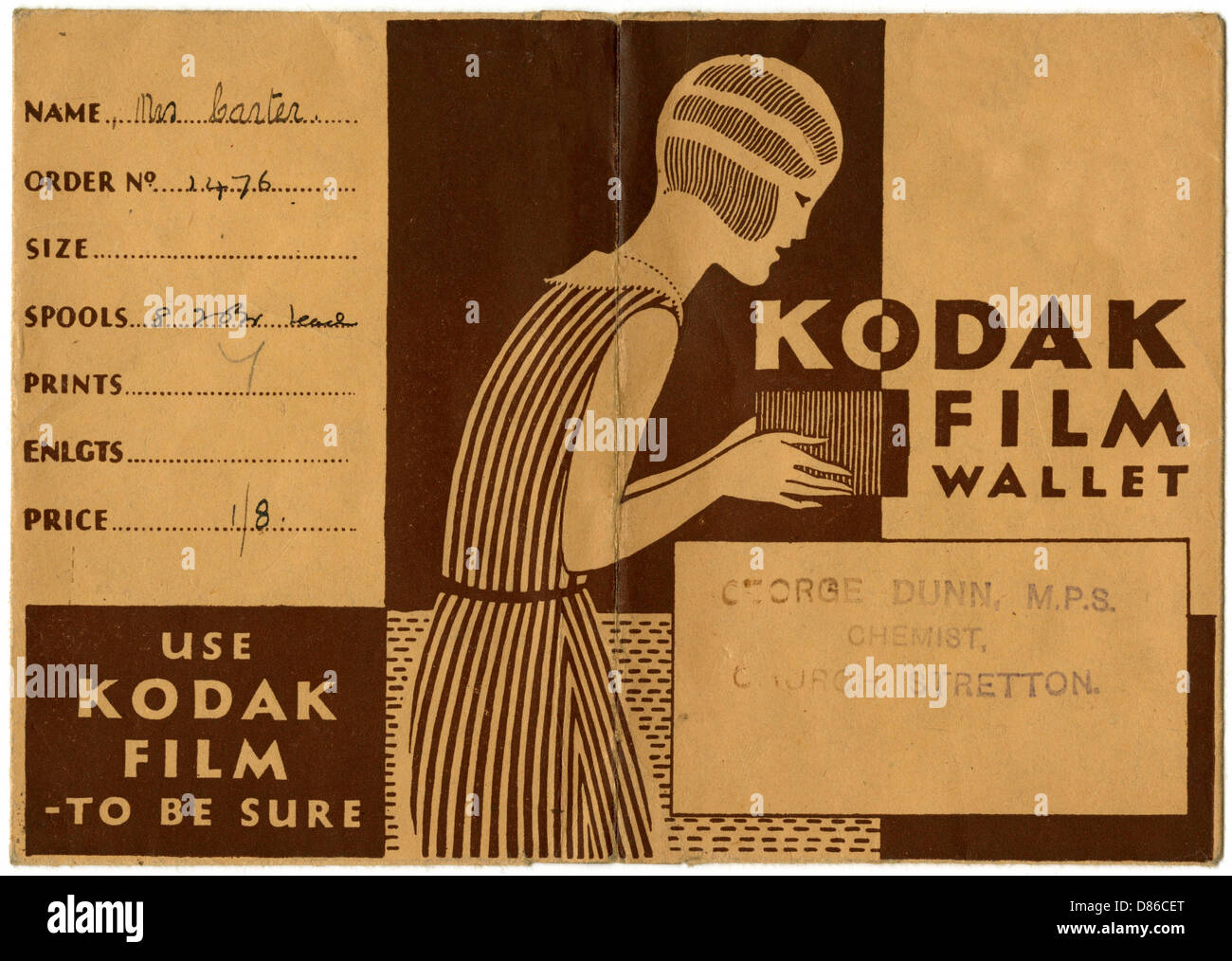 Kodak Film Wallet For Photographs And Negatives 1939 Stock Photo