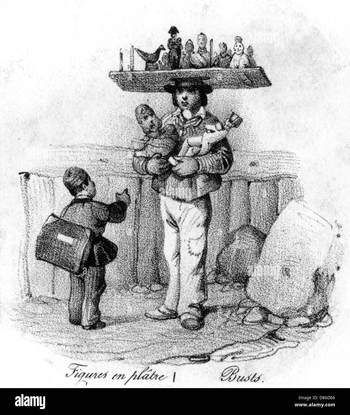Seller Of Plaster Figurines - Stock Image