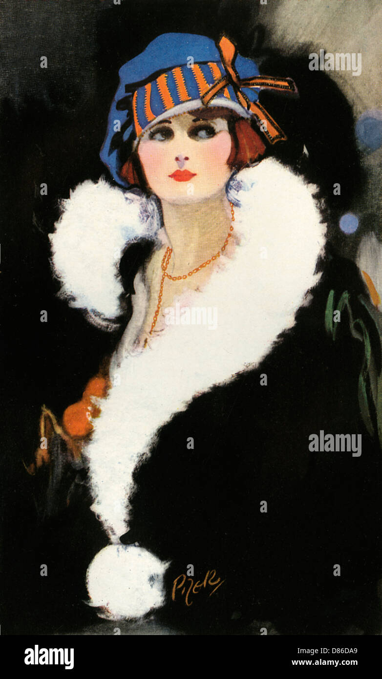 Portrait Of A Woman In 1920s 30s Clothing - Stock Image