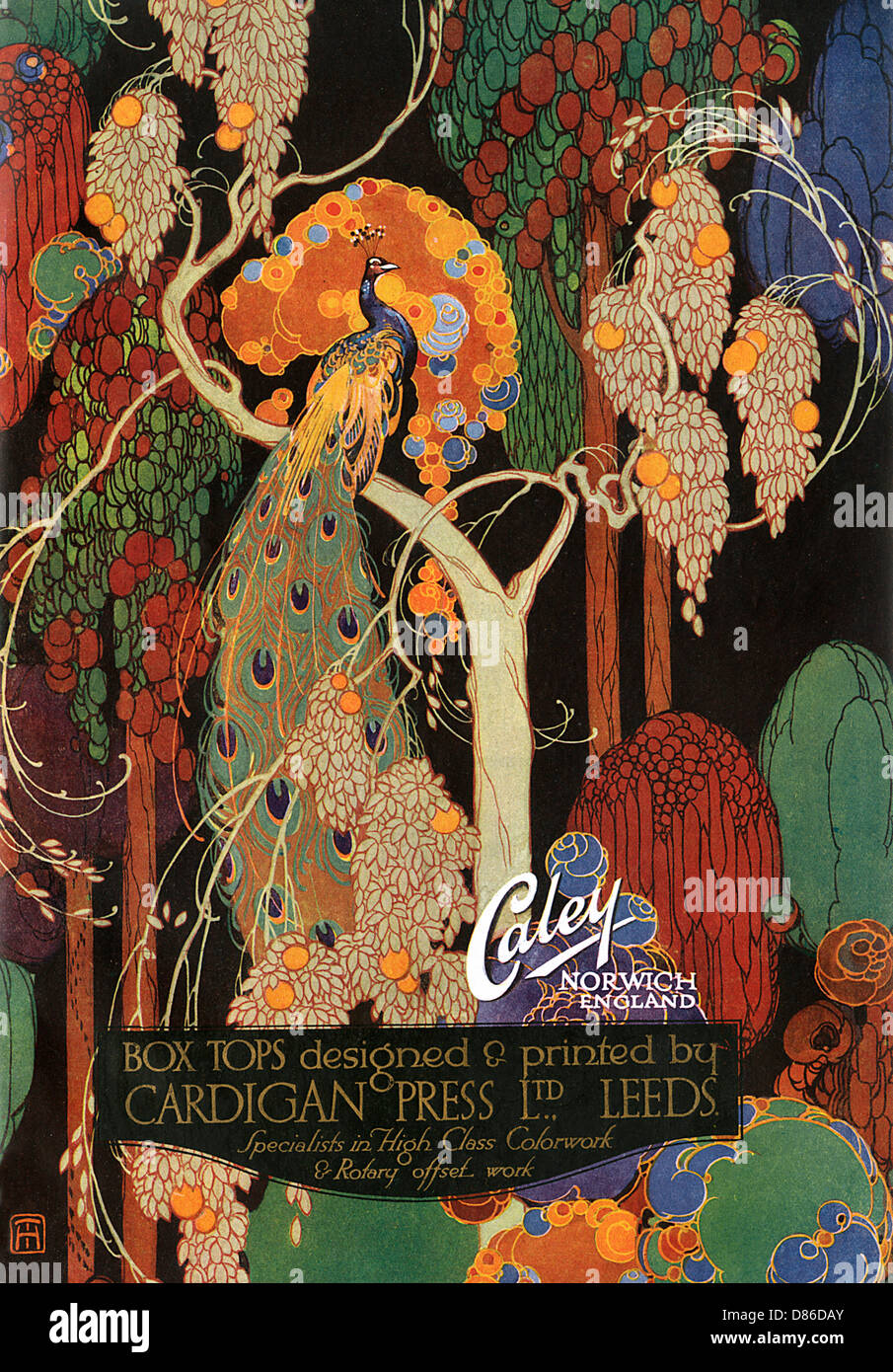 A Colourful Artwork Promoting A. J. Caley Limited. - Stock Image