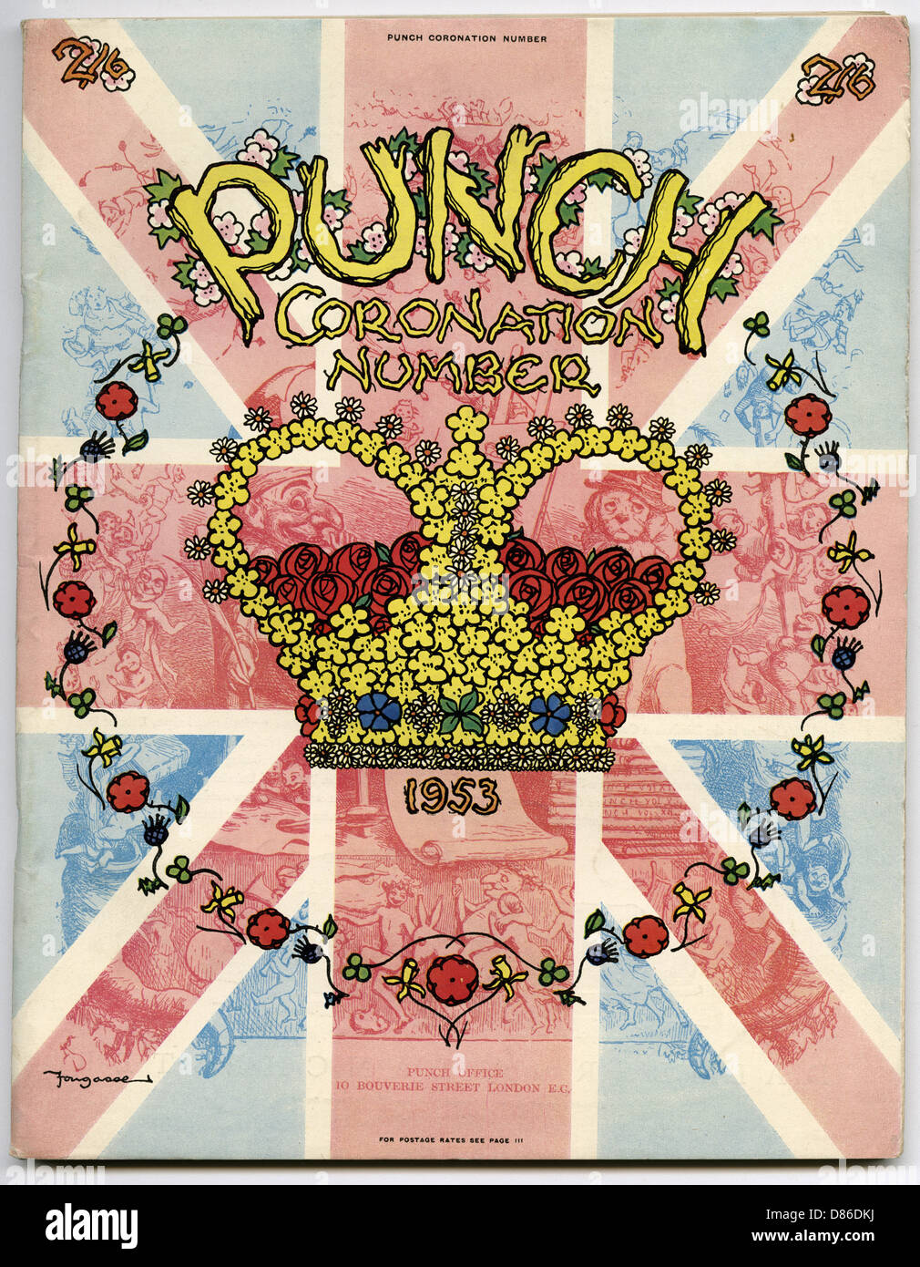 Front Cover For Punch Coronation Number 1953 - Stock Image