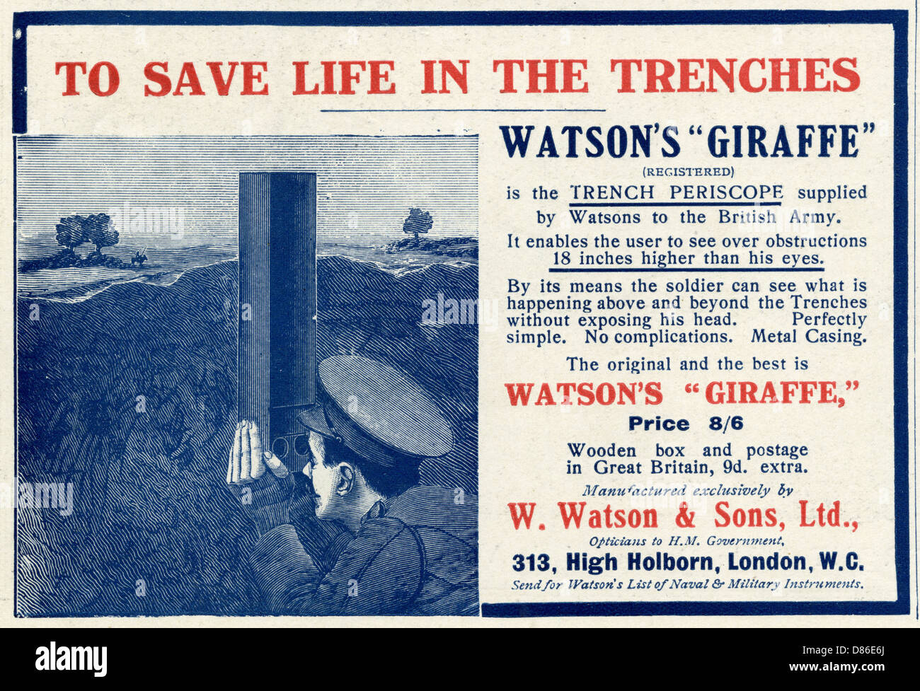 Advert For Watsons Giraffe Trench Periscope 1915 - Stock Image