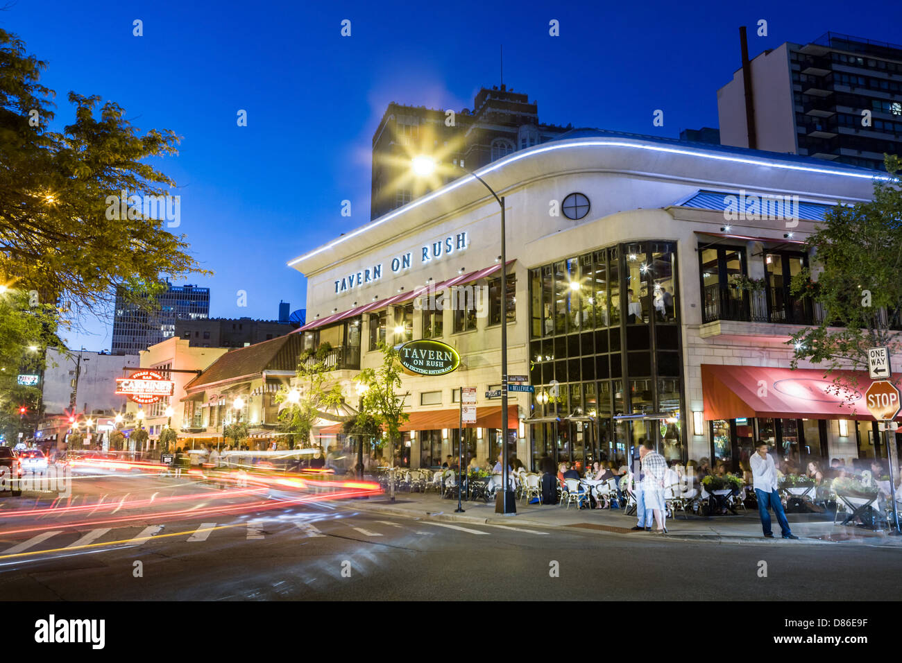 Nightlife on Rush Street, part of Gold Coast, Chicago, Illinois - Stock Image
