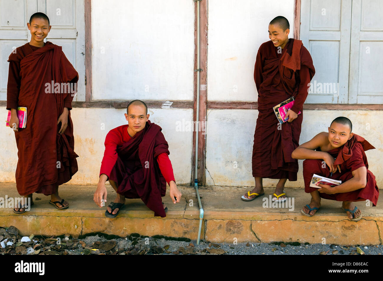 Novices in monastery near Nyaung Shwe, Myanmar, Asia - Stock Image