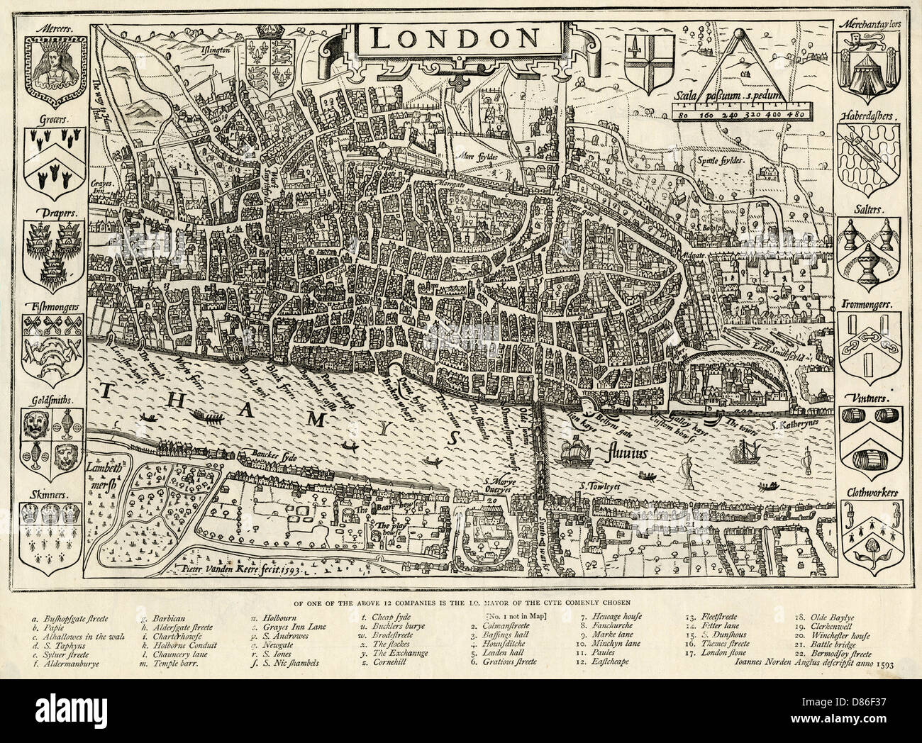 London In 1593 - Stock Image