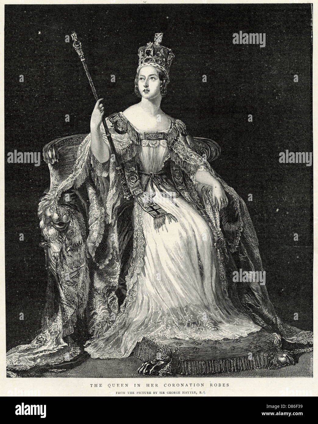 Queen Victoria In Her Coronation Robes - Stock Image