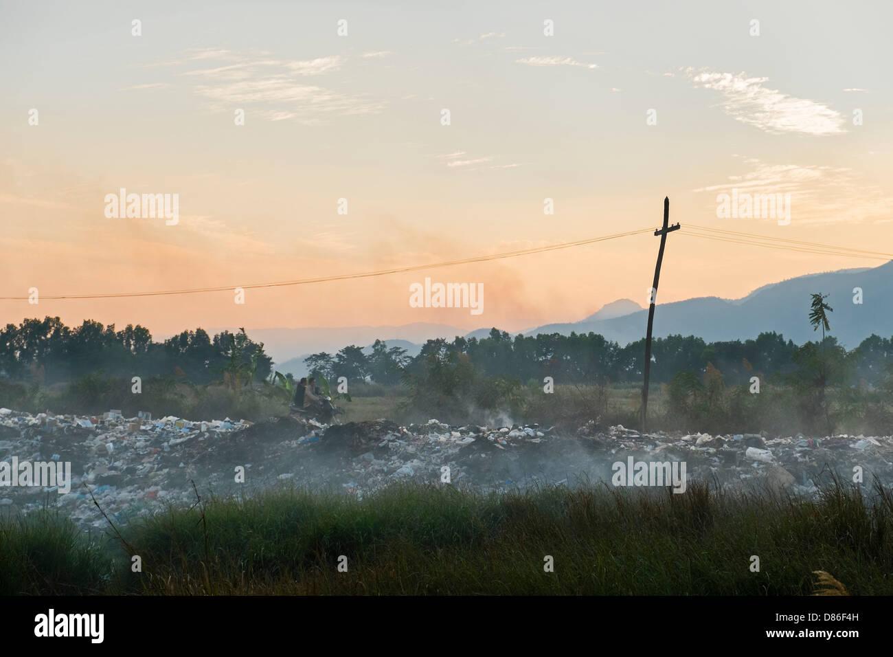 Dumping ground, Nyaung Shwe, Myanmar - Stock Image