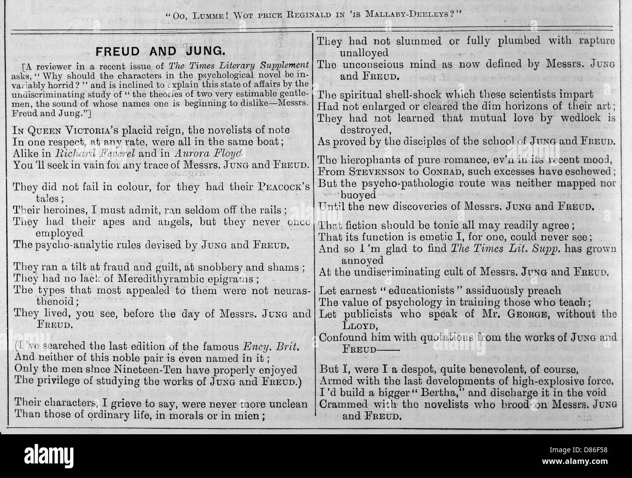 Satirical Poem On The Works Of Sigmund Freud - Stock Image